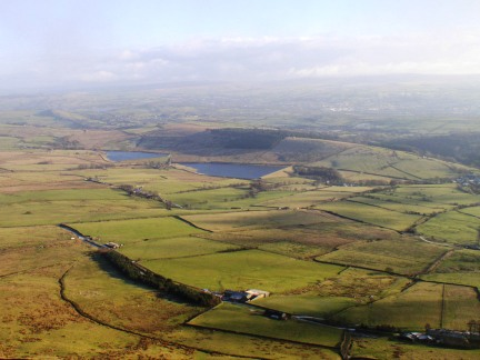 Looking down to the Black Moss Reservoirs from Pendle Hill