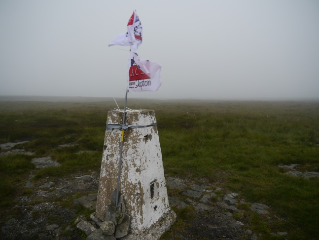 The trig point on Birks Fell which was incorrectly identified as the summit