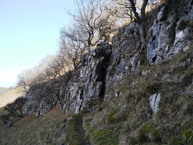 This gap in the limestone scar is the route of the first scramble