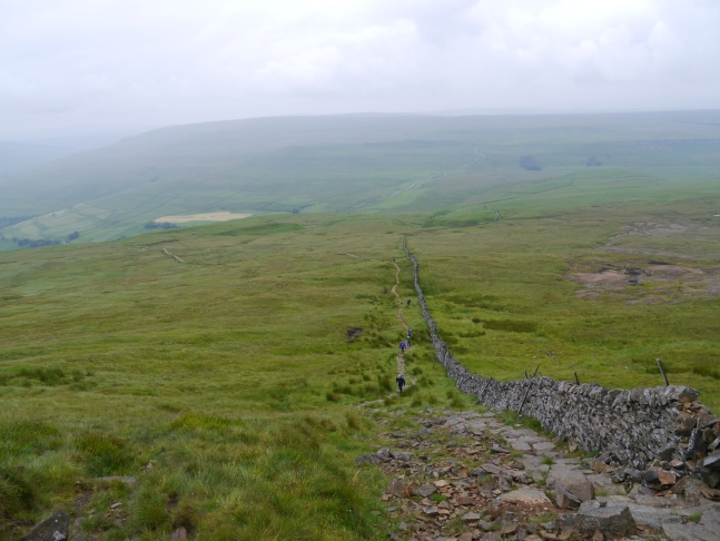 Looking back down the steep ascent on to Buckden Pike