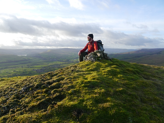 Soaking up the views from a small cairn above Ellerkin Scar