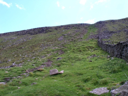 The steep route up on to Ingleborough from Humphrey Bottom