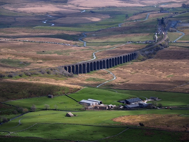 A close up of Ribblehead Viaduct from Whernside