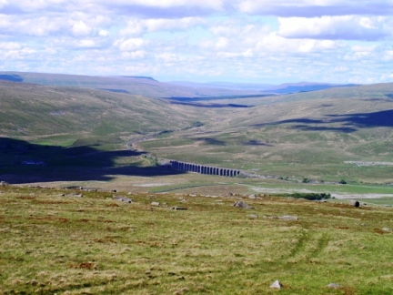 Looking down at the Ribblehead Viaduct from Park Fell