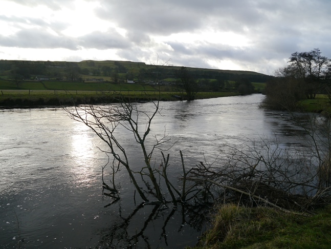 Looking across the River Ure towards the small village of Worton