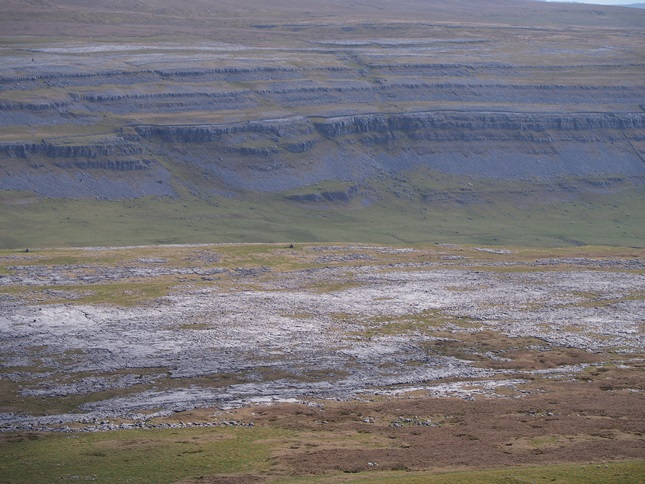Looking down at the limestone pavements of Scales Moor