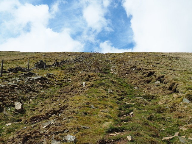 The view looking up the steep route to the top of Whernside