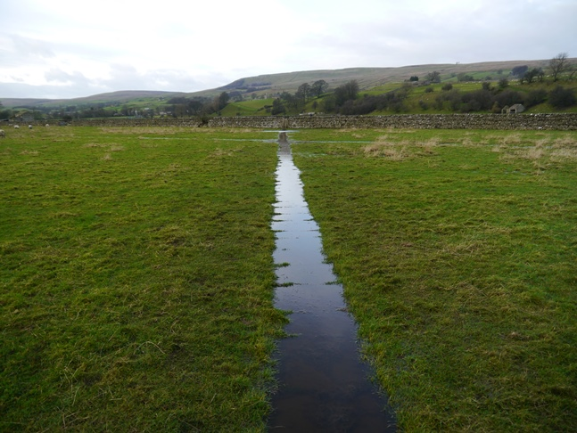 The waterlogged path across Askrigg Bottoms