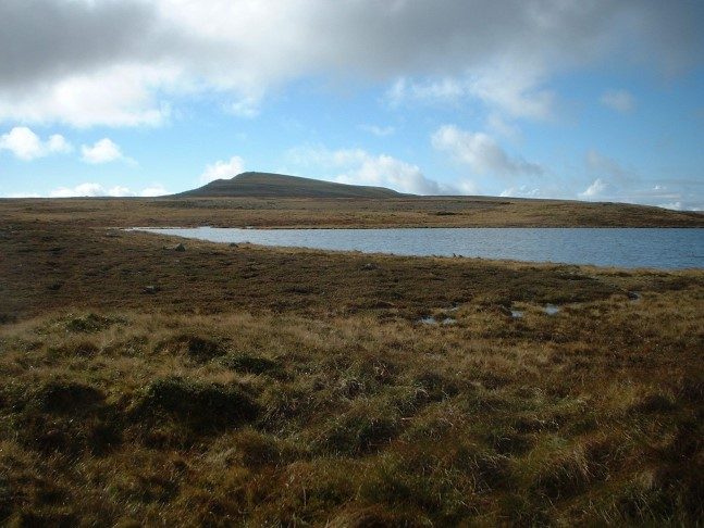 At Whernside Tarns looking towards the summit of Whernside