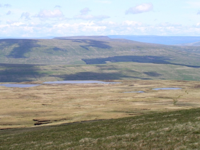 Looking across Whernside Tarns towards Rise Hill, Baugh Fell and Wild Boar Fell