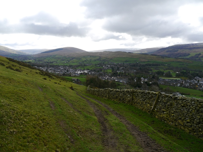 Looking back at Sedbergh from the path above Lockbank Farm