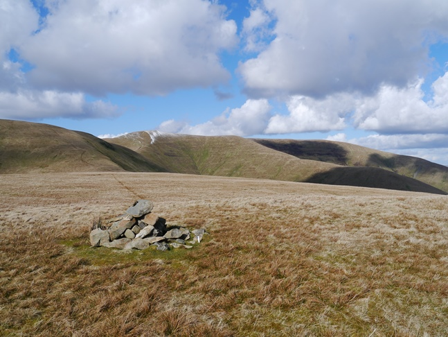 The cairn on Sickers Fell looking back at Calders and Great Dummacks
