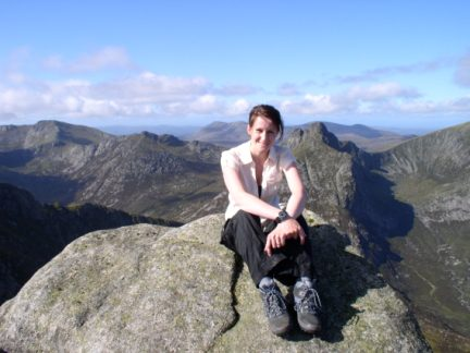 Lisa on the top of Mullach Buidhe
