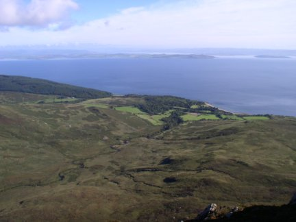 Looking back down to Sannox Bay from the climb up Cioch na h-Oighe