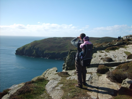 With Rhiannon on The Chasms looking towards Spanish Head