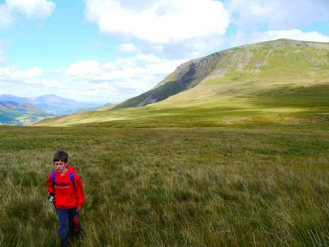 Liam crossing the deceptive looking Buttermere Moss