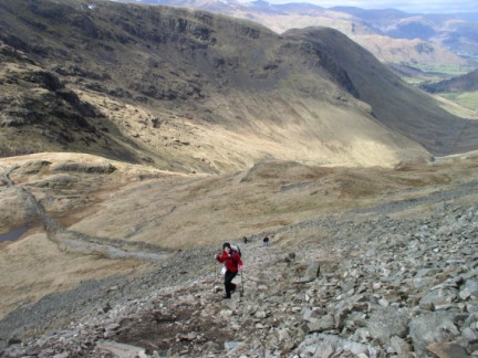 Lisa climbing up on to Thornthwaite Crag