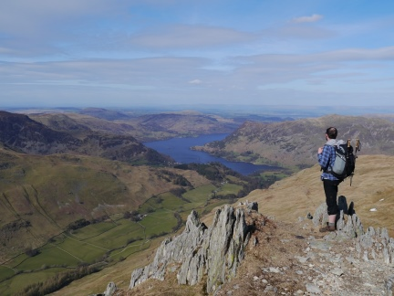 Enjoying the view of Ullswater on the descent