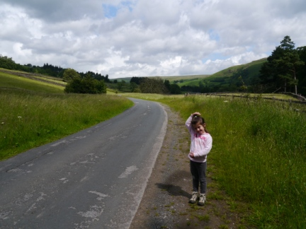 Rhiannon on the access road to Scar House Reservoir