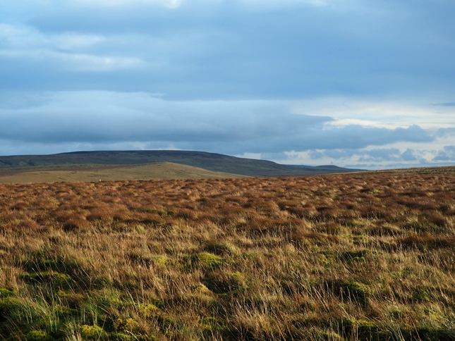 Looking across Sleightholme Moor towards Coney Seat Hill and the dark silhouette of Cleasby Hill