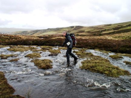 Matt crossing Skyer Beck