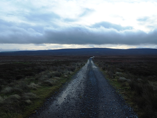 Following the track south across Bog Moss with Rogan's Seat in the distance
