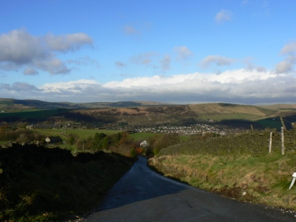 Looking towards Diggle and Harrop Edge from Running Hill Lane