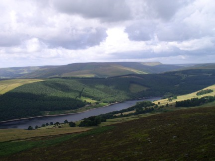 Looking across Ladybower Reservoir to the Kinder plateau