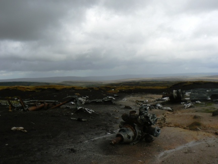 The sad remains of the wrecked B-29 Superfortress