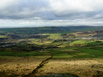 Looking down into Saddleworth from Slades Rocks
