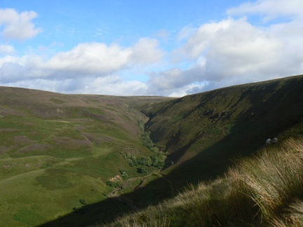 Looking back up Torside Clough towards Bleaklow