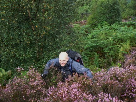 Matt battling through the undergrowth