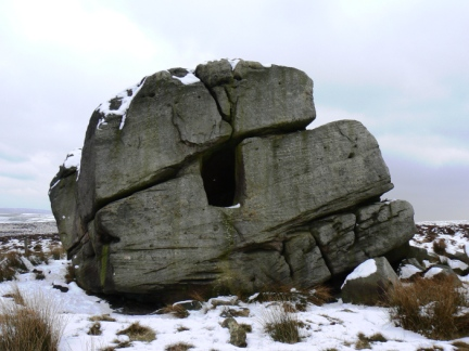 The giant Hitching Stone on Keighley Moor