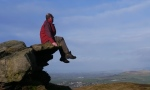 On the small crag near the summit of Skipton Moor